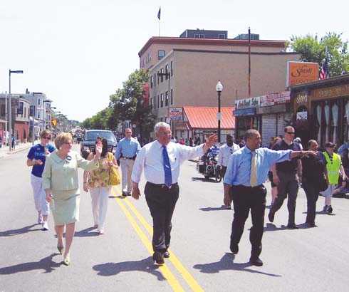 The Dorchester Day Parade lured electioneering politicians onto Dorchester Avenue on Sunday