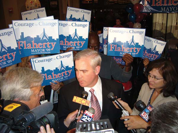 Michael Flaherty: Campaigning for mayor in '09. He'll return to the citywide stump tomorrow.