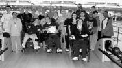 Members of the Dorchester Special Athletes program gathered for a group photo at Boston Bowl.