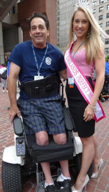 Jerry Donovan and Caitlin Weiler: At the City Hall observance of the ADA anniversary. Photo by India Smith