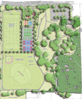 Almont Park re-design plan: Click on image to download larger PDF.