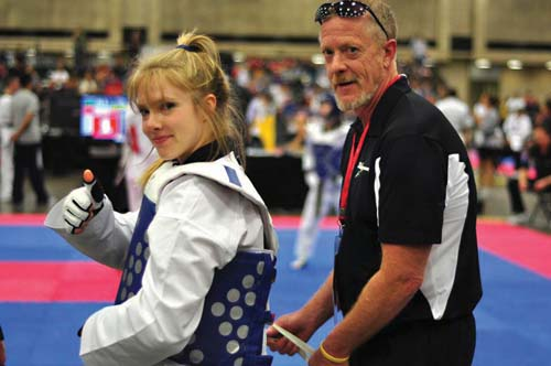 Tai Kwon Do: Amy Maillet, left, prepared for the national Taekwondo championship last month with her father and coach, Roger Maillet.  Photo courtesy MTC