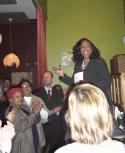 Ayanna Pressley makes a point at her fundraiser Tuesday night. 	Photo by Gintautas Dumcius