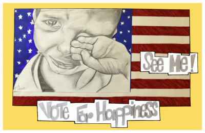 "EMK Poster: ""Vote for Happiness,"" an original design by BPS high school student Jessica Andrade for the Political Poster Project at the Edward M. Kennedy Institute."
