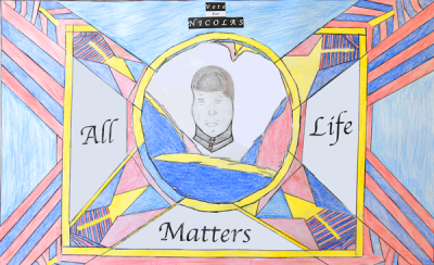 All Life Matters: original design by BPS high schooler Nicolas Galiotte for the Political Poster Project at the Edward M. Kennedy Institute.