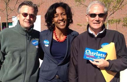 Richie on the Trail: The candidate is shown with supporters Dennis and Eddie Callahan in Charlestown this morning. Photo courtesy Richie campaign