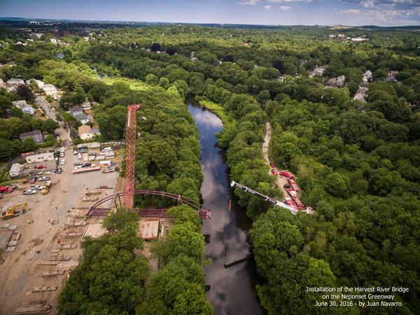 New bridge over the Neponset: An aerial view of the Harvest River Bridge installation. Photo credit Juan Navarro