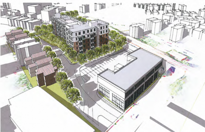 Dorchester Bay proposal: A rendering shows plans to redevelop the 65 East Cottage Street parcels.