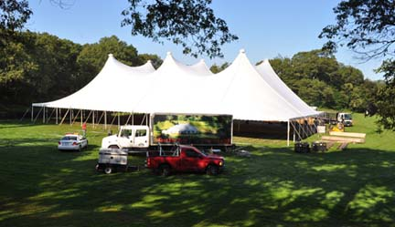 Dot Park Gala 5: A tent was raised on Dorchester Park's main ball field on Wednesday in preparation of this weekend's Dorchester Park Gala. Photo by Ed Forry