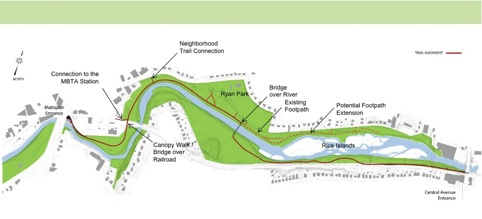 Greenway route: The preferred alternative as shown at the meeting this evening. DCR graphic