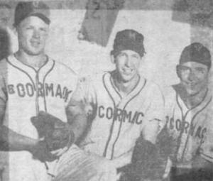 McCormack Club teammates: The young Jim Collyer is flanked by Frank Porter, left, and Jack Heanue, right, in this newspaper clip circa 1956. Courtesy Jim Collyer