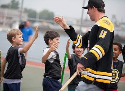 Jimmy Hayes back in town: The newest member of the Boston Bruins greeted kids at Puopolo Park in Boston's North End on Wed., July 8. Photo by Paige Brown/Boston Bruins