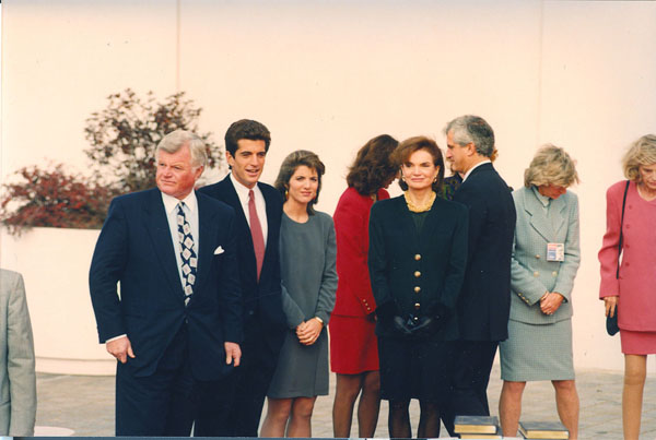 A Gathering of the Clan: There were Kennedys galore at the Kennedy Library on this day in the 1990s: From left, the senator, his late newphew JFK Jr., his niece Caroline, the late Jacqueline Onassis Kennedy, Jean Kennedy Smith, and the late Eunince Kennedy Shriver