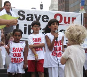 Youthful opposition: Some of the BPL's key constituents- kids- took to the mic to protest library closings at a City Hall rally on Thursday, June 3. Photo by Dan Currie