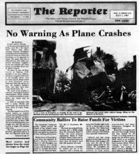 Lonsdale Plane Crash cover, 1987: The cover of the July 1, 1987 Dorchester Reporter covered the trauma of the neighborhood's worst-ever plane crash on Lonsdale Street. The accident killed the pilot and leveled three homes in the St. Mark's area.