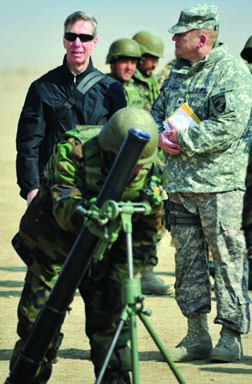 Iraq-Afghanistan visit: Congressman Steve Lynch observes training of Afghan National Army recruits.