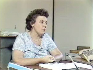 Marion Fahey: Marion Fahey at her desk in the 1970s WGBH photo.