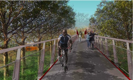 Mattapan Crossing and Canopy Walk: A graphic from a DCR presentation shown during a meeting on Aug. 30 depicts a proposed bridge at Mattapan station.