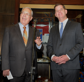 "Mayor Menino and Mayor-elect Walsh: Walsh admits to some nerves on Tuesday evening, but says: ""I just got a feeling."" Photo courtesy Mayor's Office"