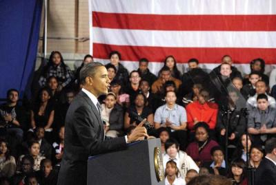 President Obama visited Dorchester in March 2011.: Our president has earned a second term. Photo courtesy BPS