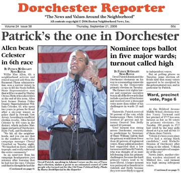 Patrick wins primary 06 Reporter cover: The cover of the September 21, 2006 edition of the Reporter brought news of a Deval Patrick victory.