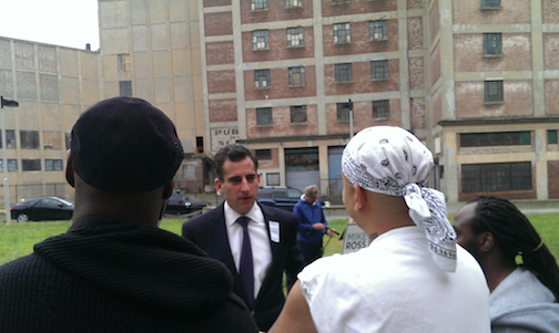 Ross campaigns outside Leon Electric Building