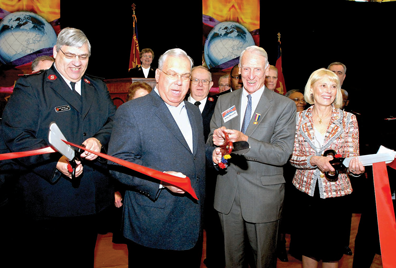 Kroc Center: Major William Bode of the Salvation Army, Mayor Tom Menino, John Hamill of Sovereign Bank and Linda Wendfeldt, Joan Kroc's daughter, enjoy Saturday's ribbon-cutting of the Kroc Community Center on Dudley Street, Dorchester. Photo courtesy Mayor's office
