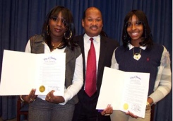 Mattapan heroes honored: Councillor Charles Yancey, center, with Shaniqua Johnson and Saquawna Anderson