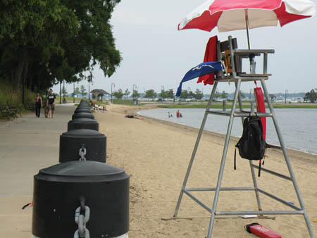 The Blue Flag Flying From Lifeguard Station At Savin Hill Beach Last Thursday Indicated That