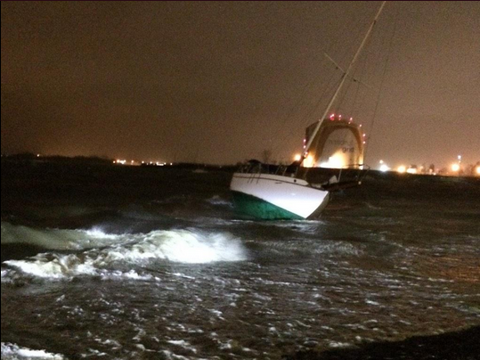 The Cordelia was pulled from its moorings and had washed ashore on Wednesday night. Photo by Lauren Dezenski.