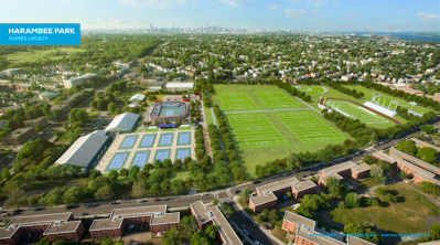 harambee park legacy: A rendering of Harambee Park and the permanent 2,500-seat stadium to be left behind after the Games. Rendering courtesy Boston 2024