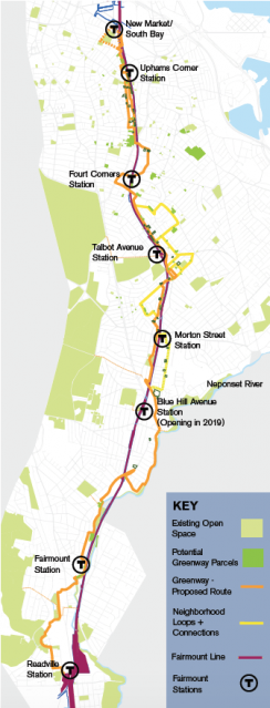 A greenway path is proposed along the Fairmount Line Corridor. Go Boston 2030 image