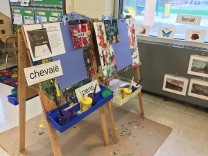 A painting area in the model classroom