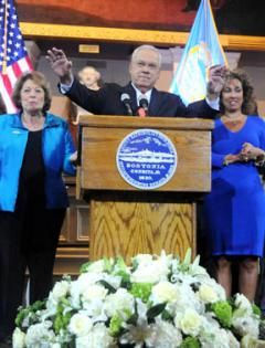 Mayor Tom Menino announces he will not run: Flanked by wife Angela, left, and daughter Susan. Photo by Don Harney/Mayor's Office