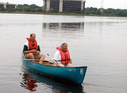 Valerie Burns: The Boston Natural Areas Network leader on a canoe excursion of the Neponset River. Photo courtesy BNAN