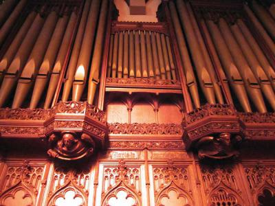 The chancel organ facade at All Saints, behind which the restored Skinner organ will be installed. Jeffrey Gonyeau photo