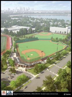 A rendering of the future J. Donald Monan, SJ Park, a baseball complex that will be shared by BC High, UMass Boston and the community. Image courtesy Stantec/UMass Boston/BC High