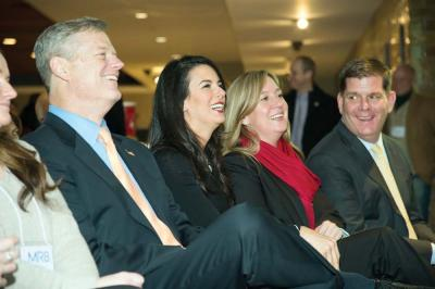 Team MR8 2016 launch: Gov. Charlie Baker, Linda Pizzuti-Henry, Lorrie Higgins, and Mayor Martin Walsh