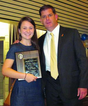 Mayor Walsh with Hannah Buckley, winner of the Dr. Thomas S. Durand Memorial as a Project DEEP tutor. Photo by Jacob Aguiar
