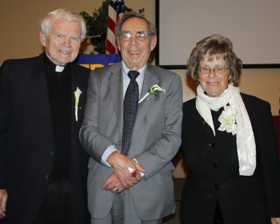 Dr. Geiger honored: Father George Carrigg, Dr. H. Jack Geiger, and Sister Elizabeth Calcagni