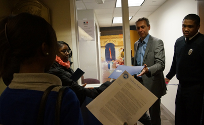 Codman Academy students at French consulate: Students hand-delivered a letter to the Consul on Tuesday morning seeking an end to French travel warnings that single out Dorchester, Mattapan and Roxbury as places for tourists to avoid. Photo courtesy Codman Academy