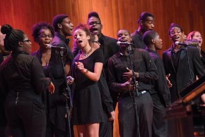 The Boston Arts Academy Spirituals Ensemble, led by Dorchester's Tyrone Sutton, has been selected for a  2016 GRAMMY Signature Schools Enterprise Award,  one of only two schools in New England to earn the award. 	Barry Hetherington photo