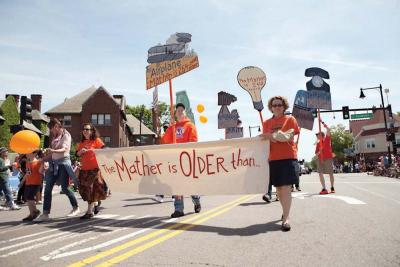Students and faculty from the Mather Elementary School marched in the Dorchester Day Parade last June to highlight their 375th anniversary, which will be officially marked next week. Photo courtesy Marie Zemler-Wu