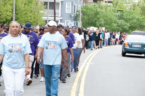 "More than 5,000 walkers – many of them families who have lost loved ones to violence – will participate on Sunday in the 17th Annual Mother's Day Walk for Peace in Dorchester to pledge their commitment to peace and shine a light on the ongoing problem of gun violence in our communities. ""For more than 17 years, the Louis D. Brown Peace Institute has been an ally to the City of Boston, working hard to make Boston's neighborhoods safer,"" says Mayor Thomas Menino. ""Today, a commitment to peace is needed now more than ever."" A special section on the Walk is enclosed in today's issue of the Reporter. Photo: Louis D. Brown Peace Institute"