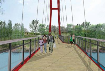 Bridge over the Neponset: A new footbridge will connect Mattapan and Milton along the Neponset Greenway. Image courtesy DCR