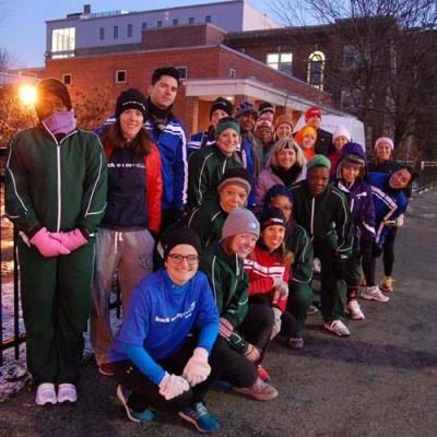 Back on My Feet Boston: Running club promotes self-sufficiency for homeless people through early morning runs through the city. Above, a group of runners representing Team Rosie's Place is shown in the South End on a recent morning. 	Photo courtesy Back on My Feet Boston