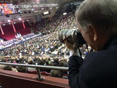 The master at work: Bill Brett photographed the inauguration of Mayor Martin Walsh on January 6, 2014 at Boston College's Conte Forum. 	Bill Forry photo
