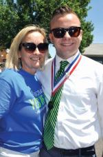 Mayor of Dorchester Cam Charbonnier with his mom Leah Finn at the parade. Bill Forry photo
