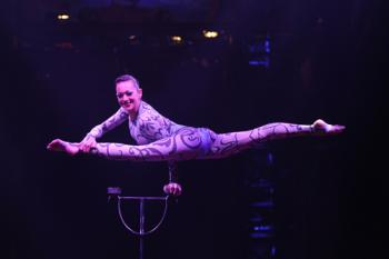 From Argentina, Elayne Kramer astounds with a backbone as flexible as an archer's bow! 	Photo by Bertrand Guay/Big Apple Circus