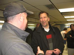 John OToole: The candidate speaks with a potential supporter at the John P. McKeon AmVets Post 146 on Sat., Feb. 1.                                     Photo by Dave Eisenstadter